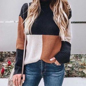 Black tan and white block sweater